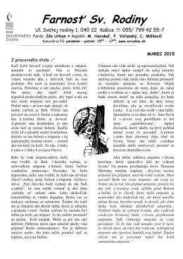 Bulletin na mesiac Marec 2015