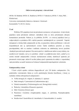 Odčervovacie programy v chovoch koní MVDr. M. Boldiţár