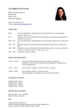 1) CURRICULUM VITAE - Asociácia doktorandov Slovenska