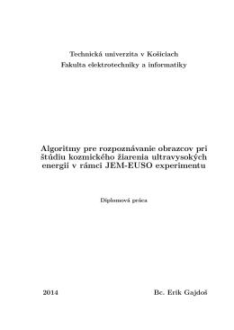 Algoritmy pre rozpoznávanie obrazcov pri štúdiu
