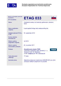 ETAG 033 - SGP Standard