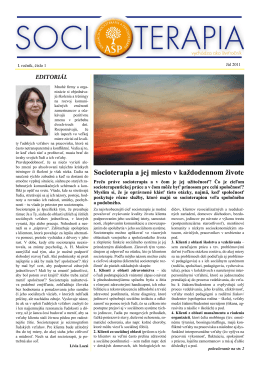 Socioterapia a jej miesto v každodennom živote