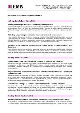 návrh tém doktorandského štúdia na akademický rok 2013/2014