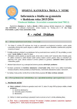 Informácia o štúdiu na gymnáziu v školskom roku 2015/2016