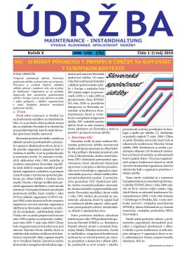 ÚDRŽBA č. 1,2/2010 - Slovenská spoločnosť údržby