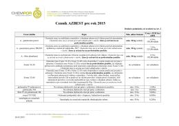 Cenník AZBEST pre rok 2015