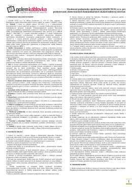 Všeobecné podmienky spoločnosti GOLEM TECH