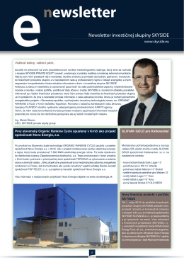 Aktuálny newsletter - SKYSIDE private equity