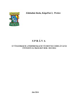 Výročná správa na r. 2013 - 2014