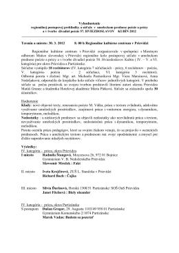 Vyhodnotenie - Regionálne kultúrne centrum v Prievidzi