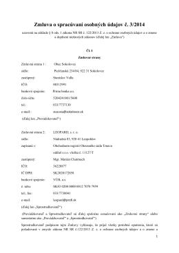 Zmluva o spracúvaní osobných údajov č. 3/2014