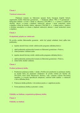 kritéria pre prijímanie žiakov do 1. ročníka