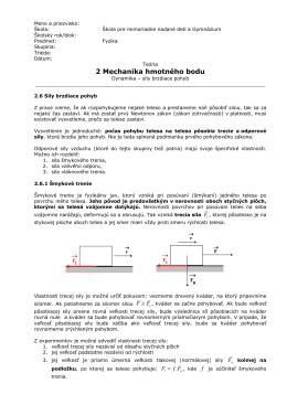 Teória - Mechanika hmotného bodu