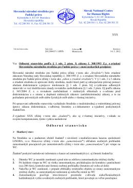 Odborné stanovisko - LINORA,s.r.o. Hencovce