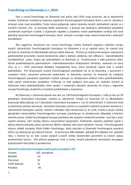 Novinka_Franchising na Slovensku v r. 2014_10.12.2014