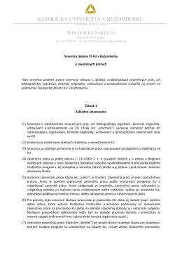 Smernica dekana TF KU v Ružomberku