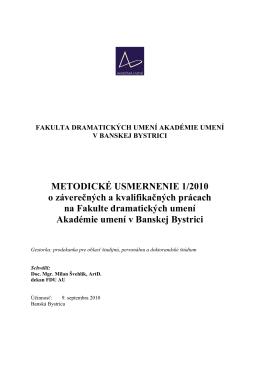 Metodické usmernenie k prácam 2012-2013