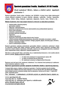Športové gymnázium Trenčín, Staničná 6, 911 05 Trenčín