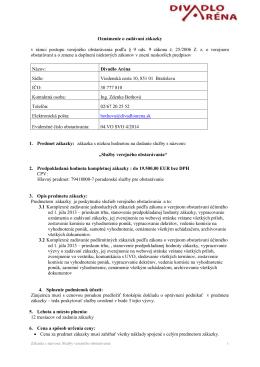 Oznámenie o zadávaní zákazky 04.VO SVO 4-2014