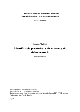 Identifikácia parafrázovania v textových dokumentoch