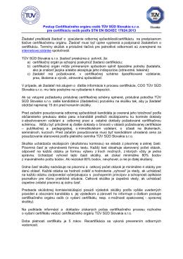 Postup Certifikačného orgánu osôb TÜV SÜD Slovakia sro pre