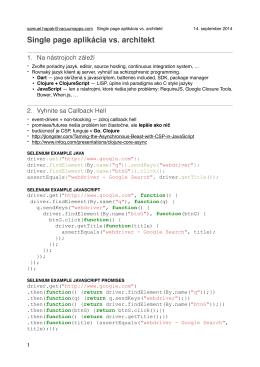 Single page aplikácia vs. architekt