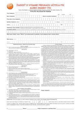 žiadosť o vydanie preukazu učiteľa itic alebo známky itic