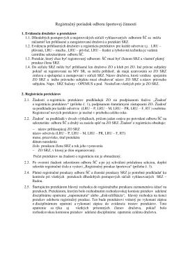 Registračný poriadok odboru športovej činnosti