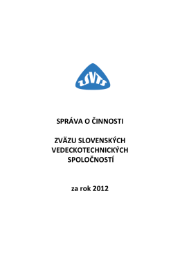 Správa o činnosti ZSVTS za rok 2012_ na stiahnutie