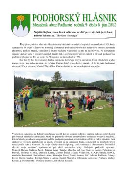 6/2012 - Obec Podhorie