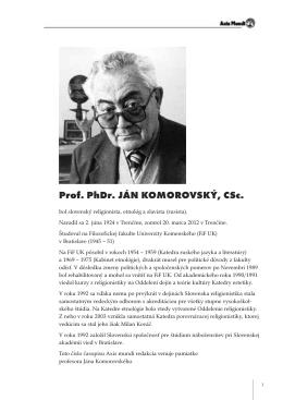 Prof. PhDr. JÁN KOMOROVSKÝ, CSc.