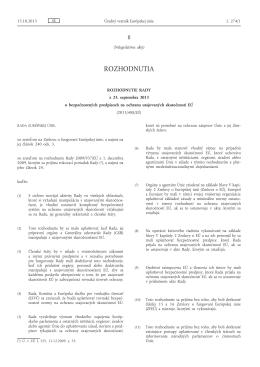 Rozhodnutie Rady z 23. septembra 2013 o bezpečnostných