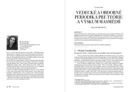 vedecké a obdorné periodiká pre teóriu a výskum masmédií