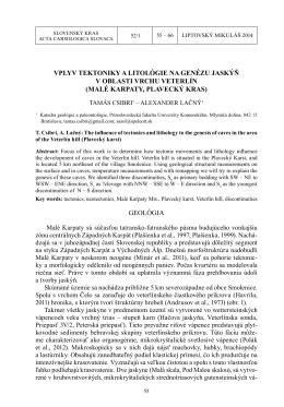 Csibri, T. & Lačný, A. 2014. Vplyv tektoniky a litológie na genézu