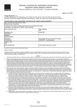 Dohoda o poskytovaní osobitného účastníckeho