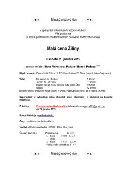 Malá cena Žiliny v sobotu 31. januára 2015