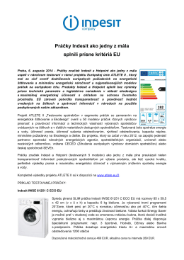 Práčky Indesit ako jedny z mála splnili prísne kritériá EU
