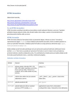HTML formuláre