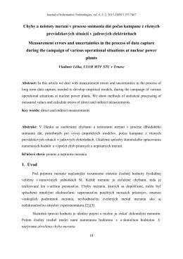 Liška Vladimír - Chyby a neistoty meraní v procese snímania dát