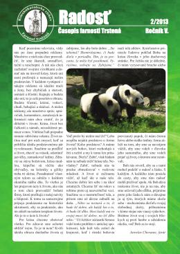 Farský časopis Radosť 2/2013