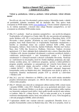 Správa o činnosti MsÚ a primátora