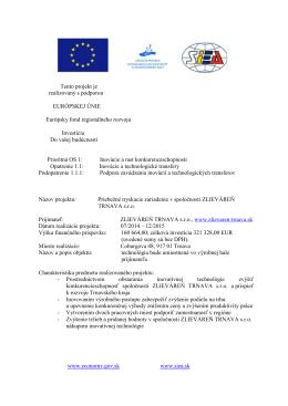Tento projekt je realizovaný s podporou EURÓPSKEJ ÚNIE