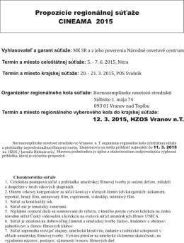 Propozície - Hornozemplínske osvetové stredisko