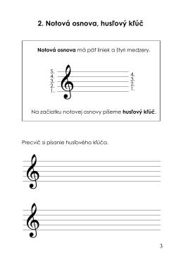 2. Notová osnova, husľový kľúč