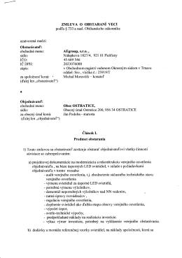 Zmluva o obstaraní veci AEgroup, s.r.o. Piešťany