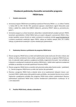 Všeobecné podmienky zľavového vernostného programu FRESH