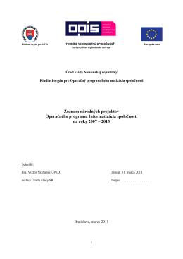 aktualizovaný zoznam národných projektov OPIS a zoznam