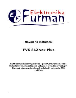 Datasheet FVK 842 vox Plus