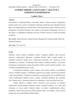 ľudské zdroje a ich úloha v malých a stredných podnikoch