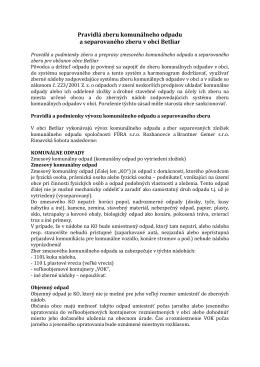 Pravidlá zberu komunálneho odpadu a separovaného